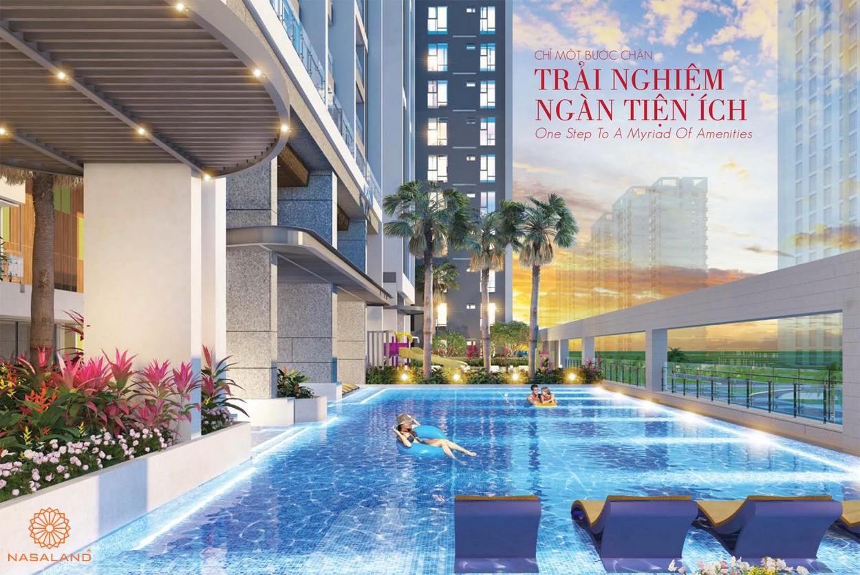 Tiện ích dự án nội khu - hồ bơi tràn viền hướng ra mặt tiền đường Nguyễn Lương Bằng