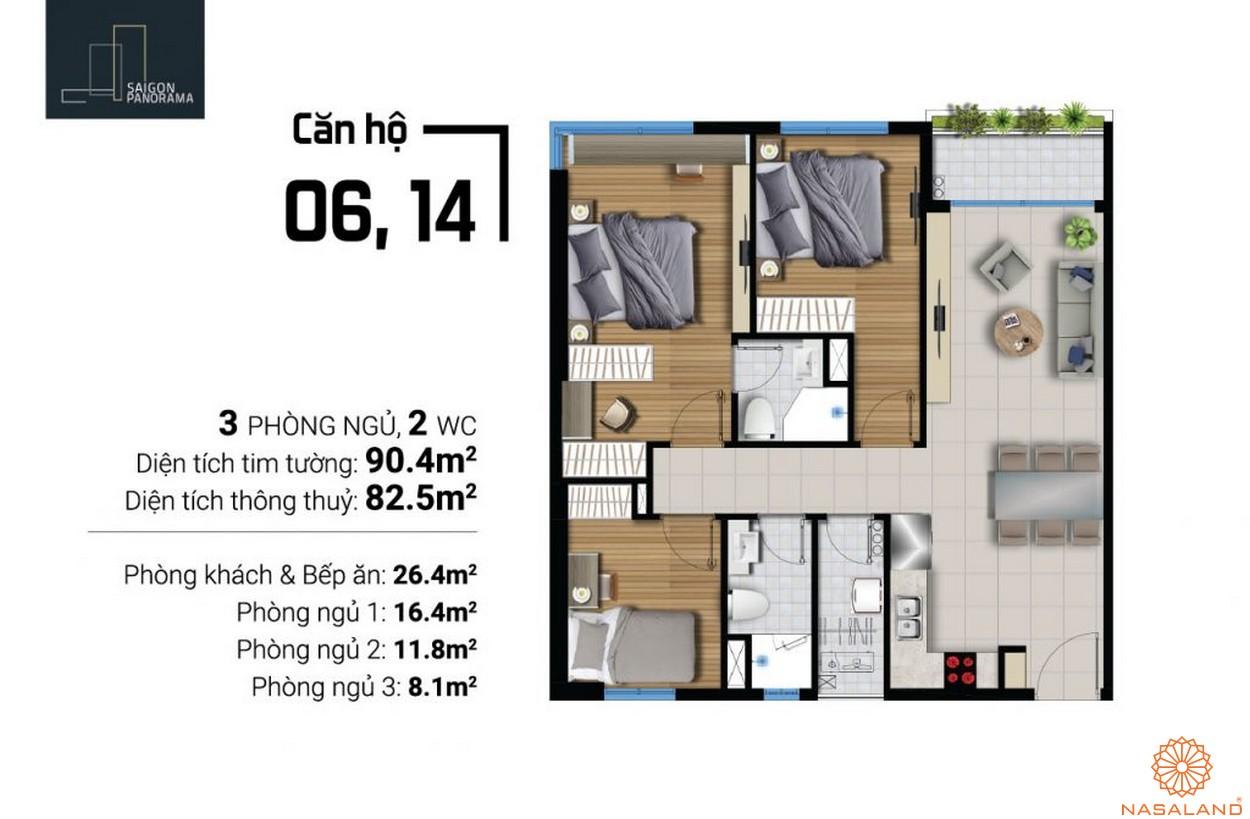 Mặt bằng căn hộ 6 14 River Panorama quận 7