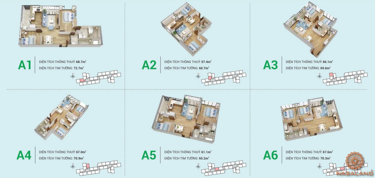 Mặt bằng điển các căn hộ HR3 thuộc dự án Eco Green Sài Gòn quận 7