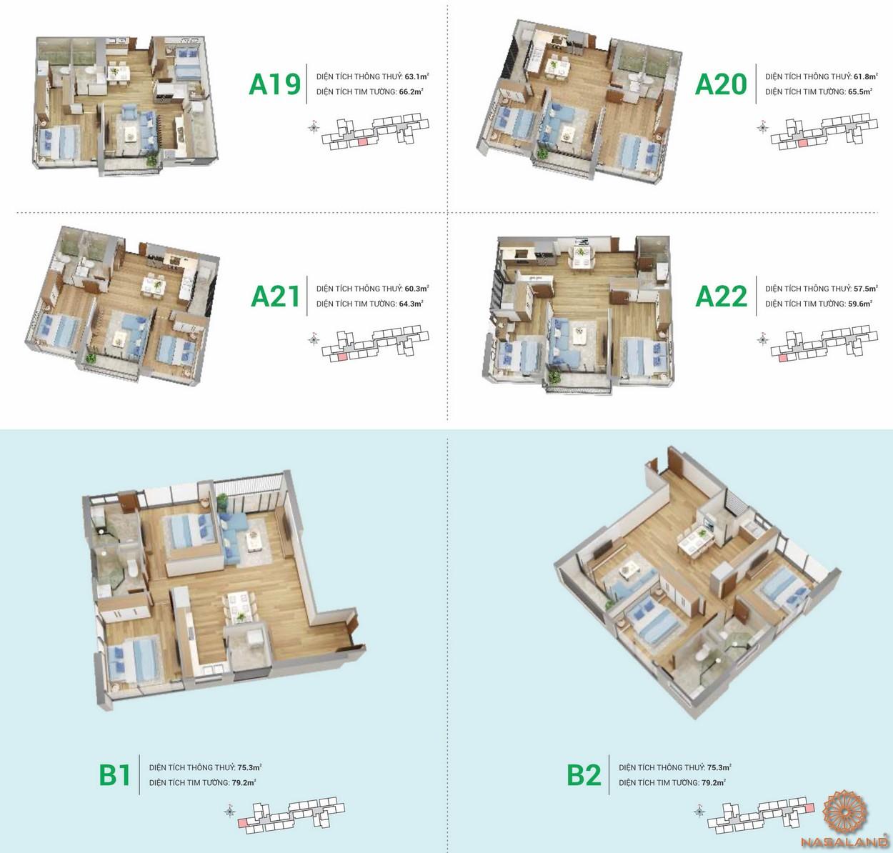 Mặt bằng căn hộ HR3 thuộc dự án chung cư Eco Green Sài Gòn quận 7