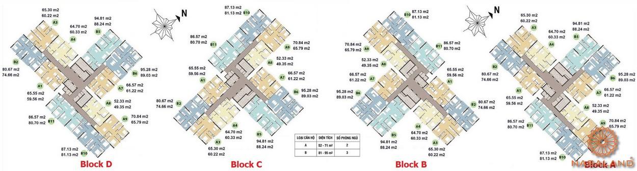 Mặt bằng tháp HR1 (Block A&B) tháp HR2 (Block C&D)