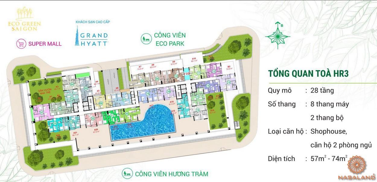 Mặt bằng điển hình tháp HR3 dự án căn hộ Eco Green Sài Gòn quận 7