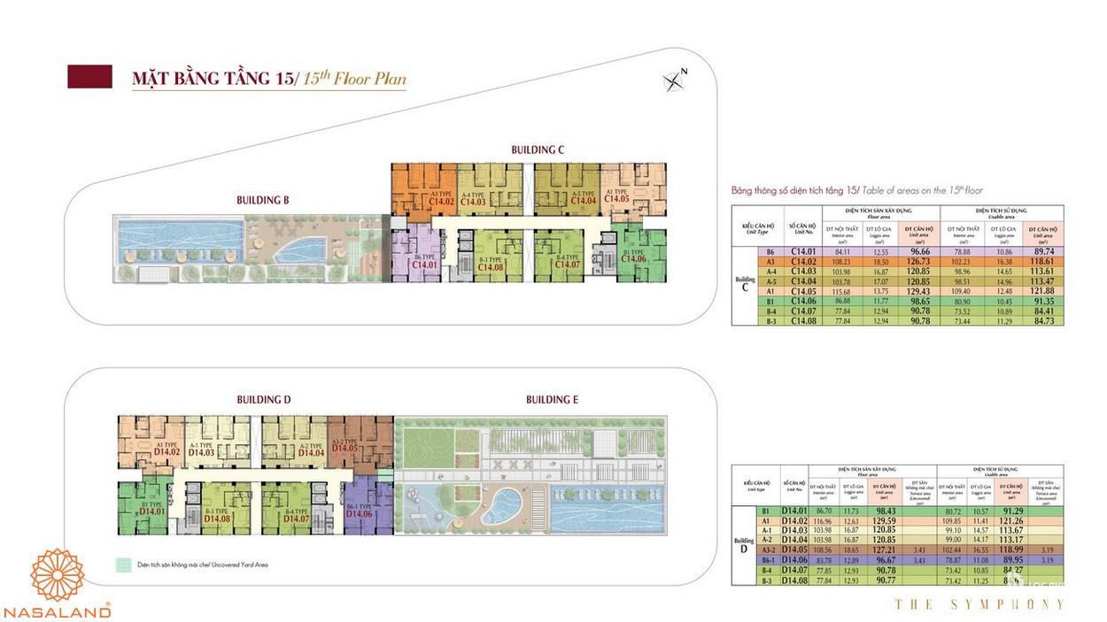 Mặt bằng tầng 15 dự án The Symphony Phú Mỹ Hưng quận 7