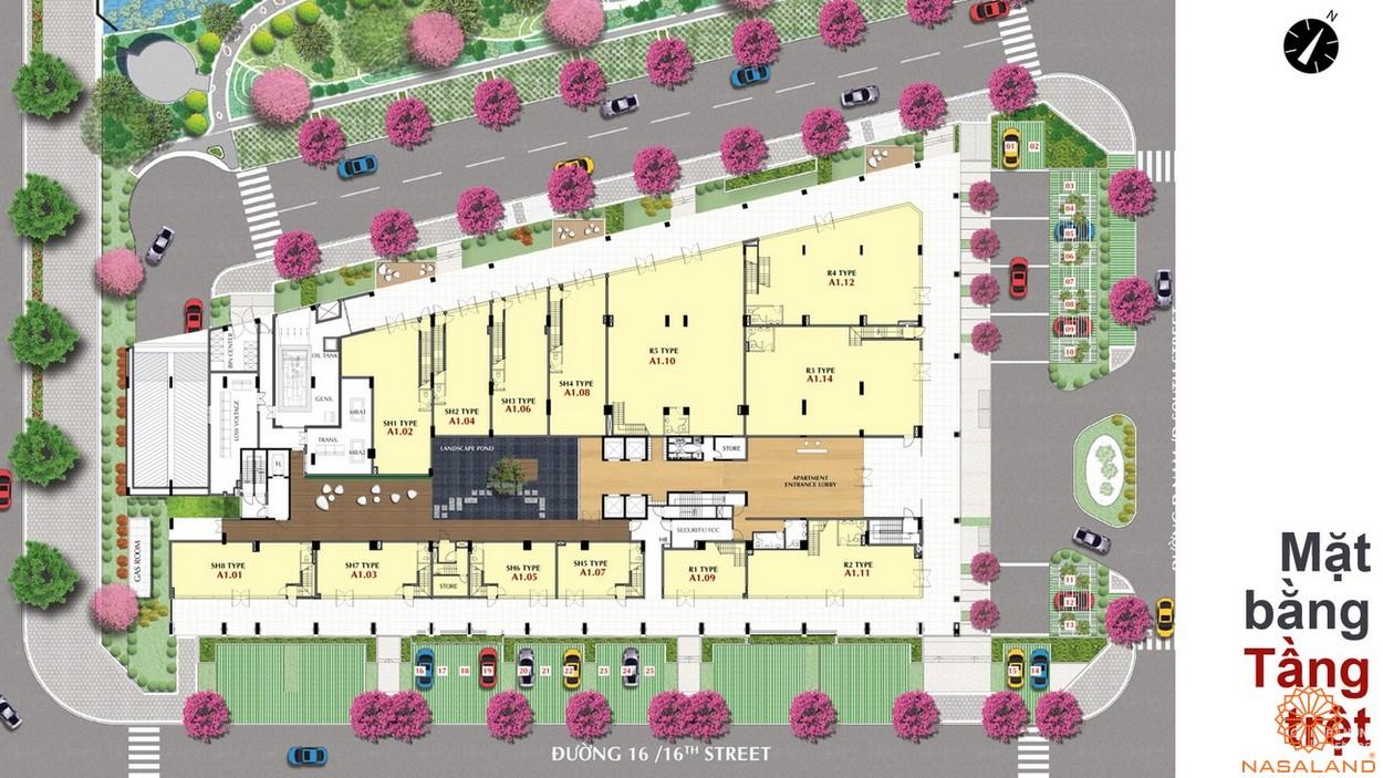 Mặt bằng tầng trệt dự án The Grande quận 7