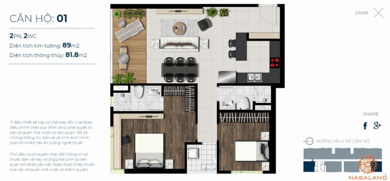 Mặt bằng căn hộ Sky 89 quận 7 mẫu 1