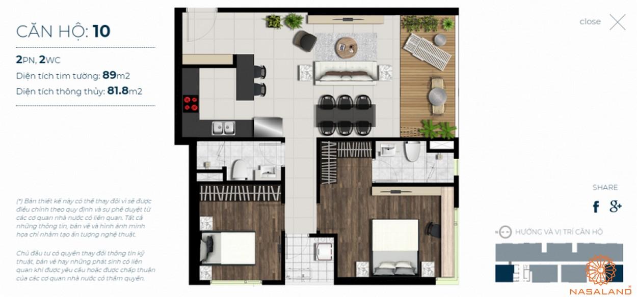 Mặt bằng căn hộ Sky 89 quận 7 mẫu 10