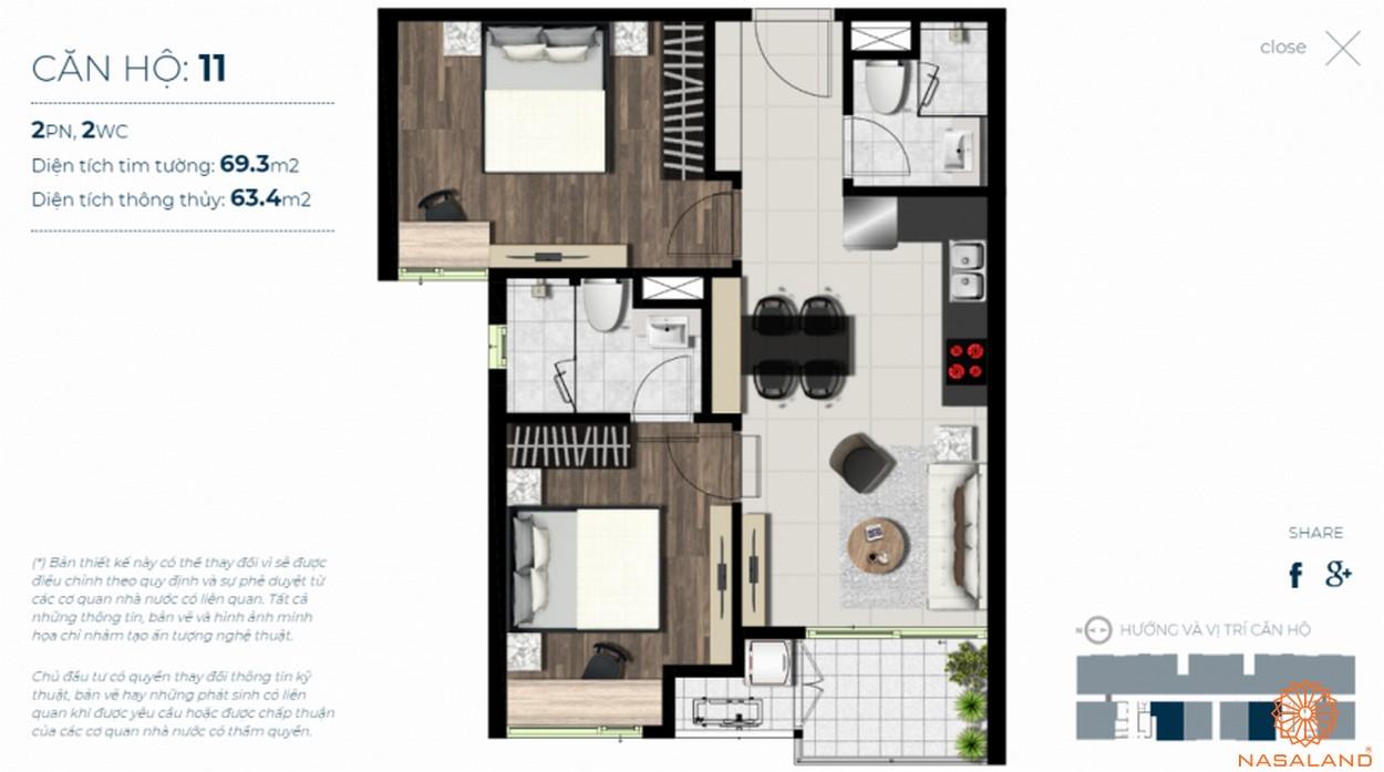 Mặt bằng căn hộ Sky 89 quận 7 mẫu 11