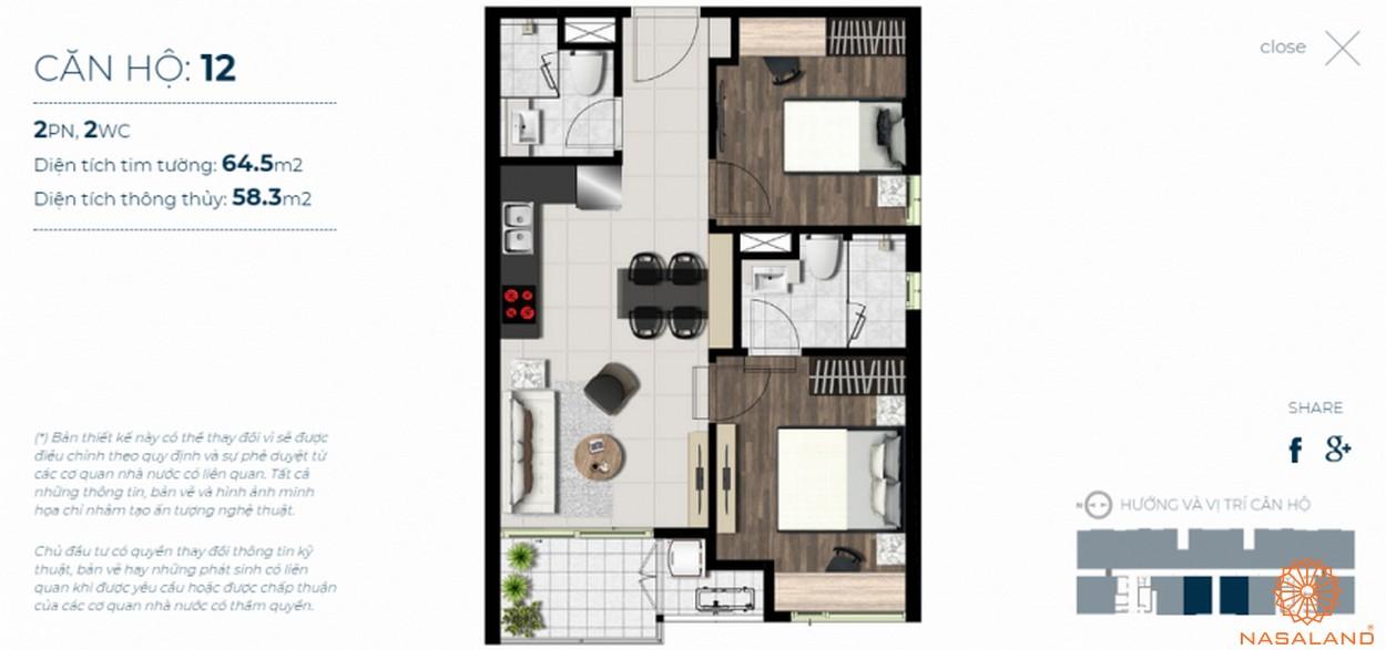 Mặt bằng căn hộ Sky 89 quận 7 mẫu 12