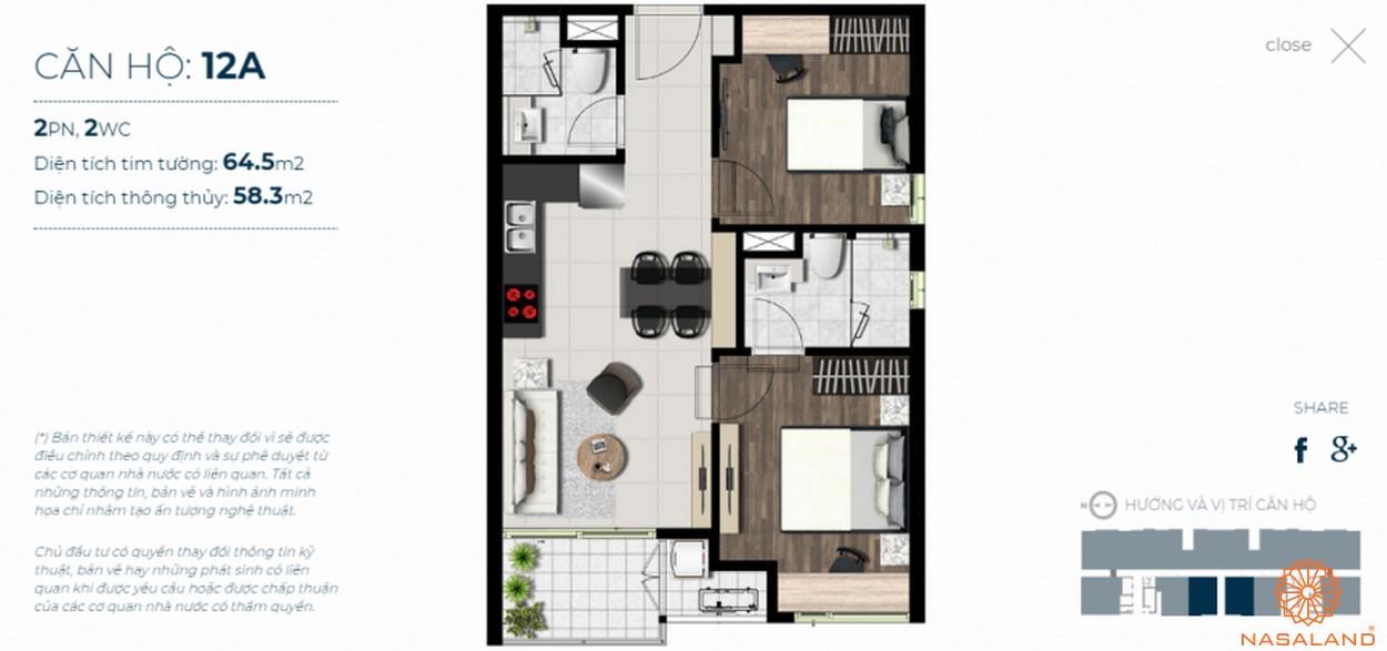 Mặt bằng căn hộ Sky 89 quận 7 mẫu 12a