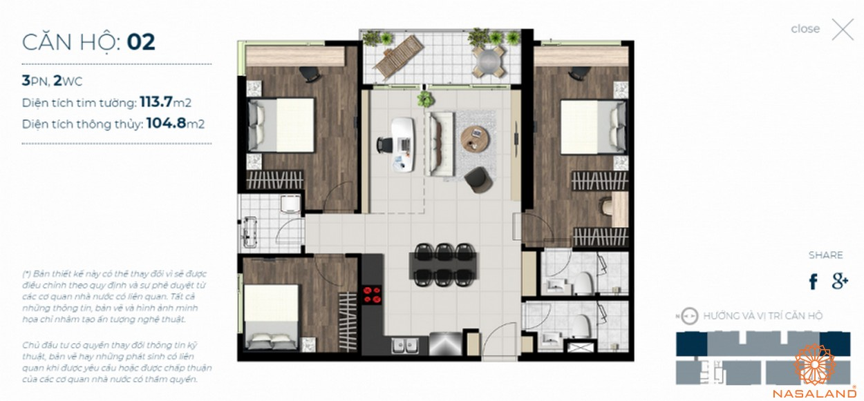 Mặt bằng căn hộ Sky 89 quận 7 mẫu 2
