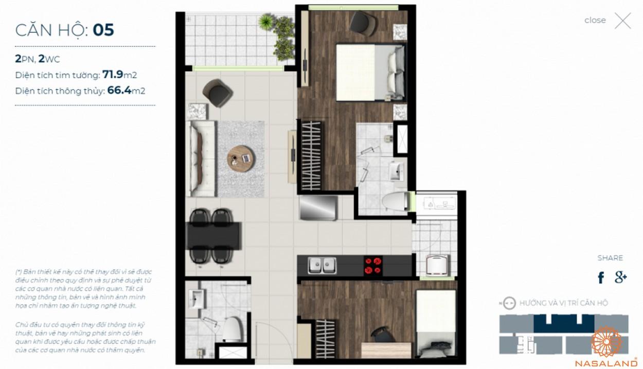Mặt bằng căn hộ Sky 89 quận 7 mẫu 5