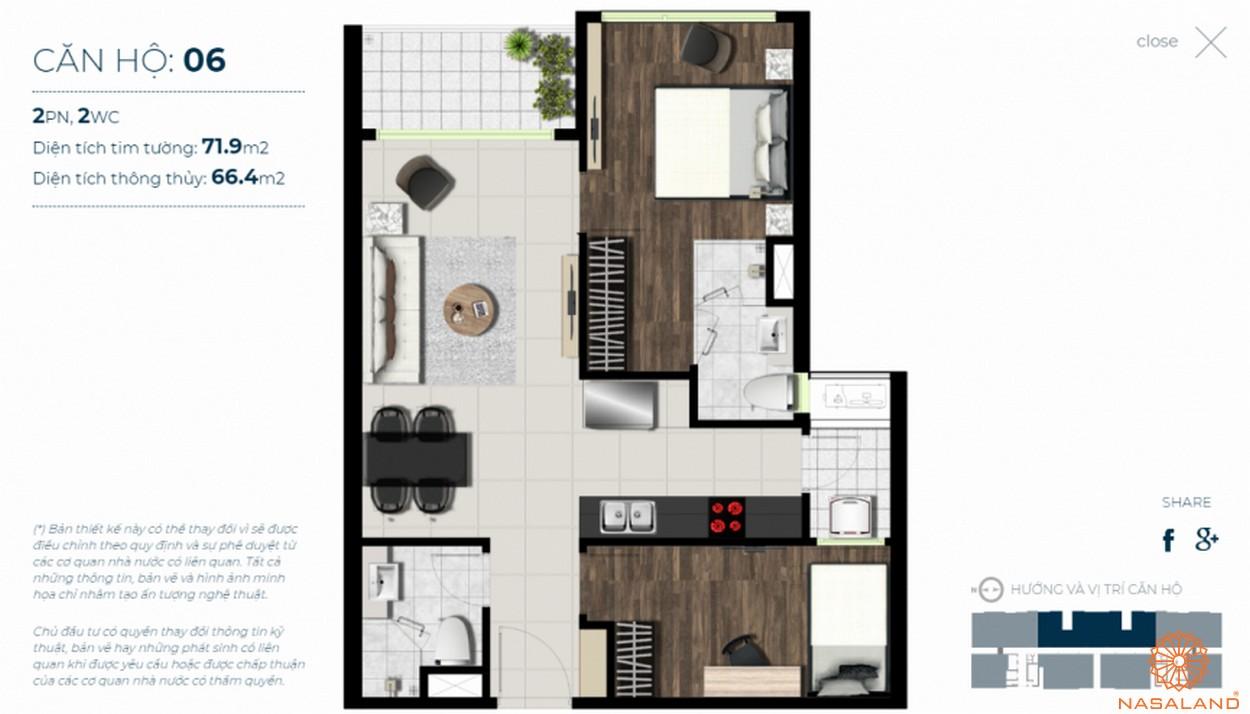 Mặt bằng căn hộ Sky 89 quận 7 mẫu 6