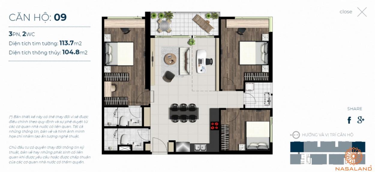 Mặt bằng căn hộ Sky 89 quận 7 mẫu 9