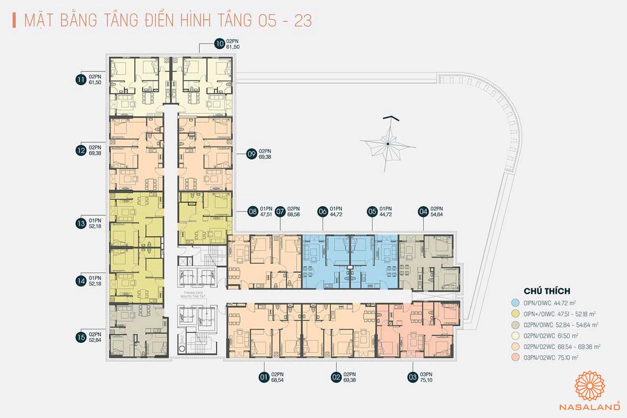Mặt bằng tầng điển hình của dự án Viva Plaza