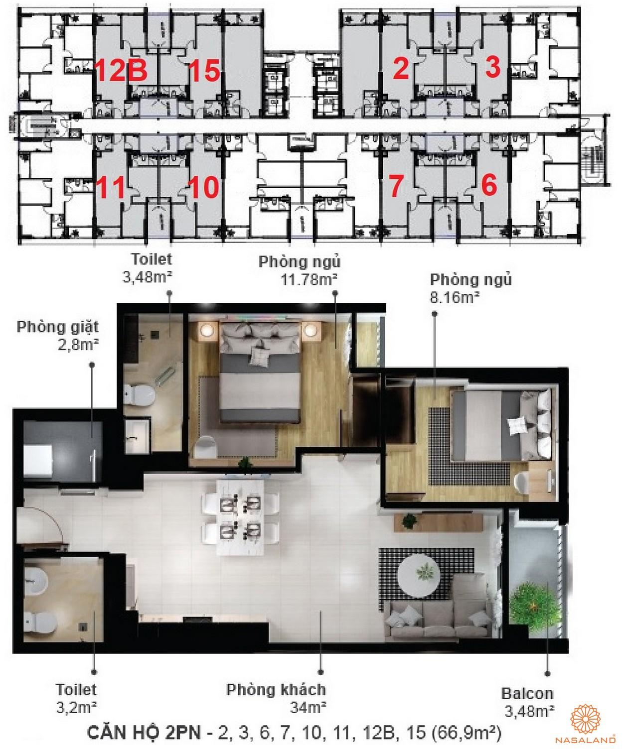 Mặt bằng dự án căn hộ Eco Xuân Sky Residences Bình Dương - 2 phòng ngủ