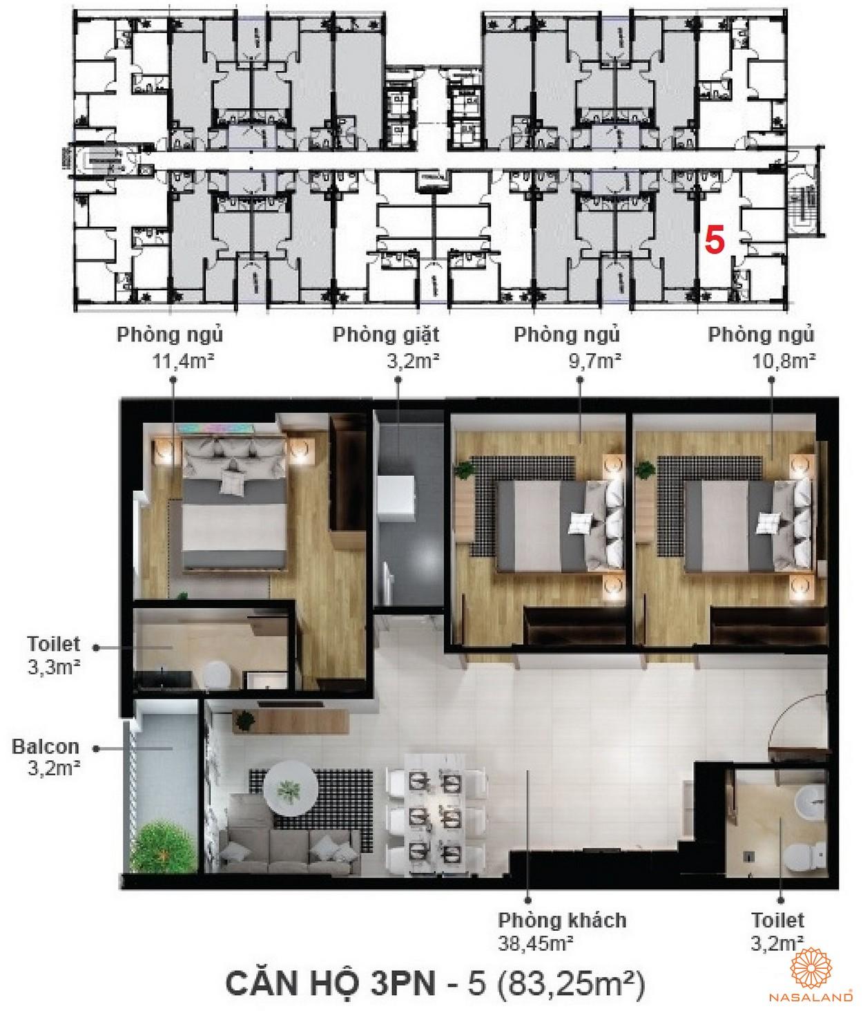 Mặt bằng dự án căn hộ Eco Xuân Sky Residences Bình Dương - 3 phòng ngủ