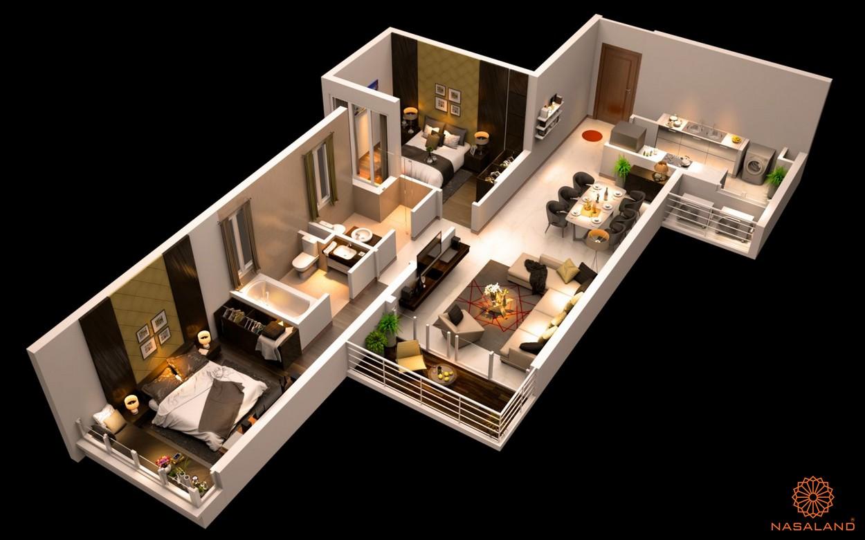 Mặt bằng dự án căn hộ The Canary Heights Bình Dương - 2 phòng ngủ
