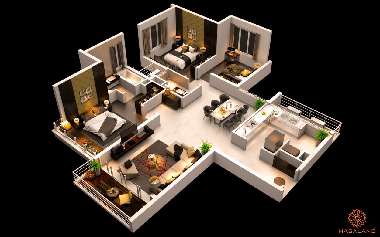 Mặt bằng dự án căn hộ The Canary Heights Bình Dương - 3 phòng ngủ