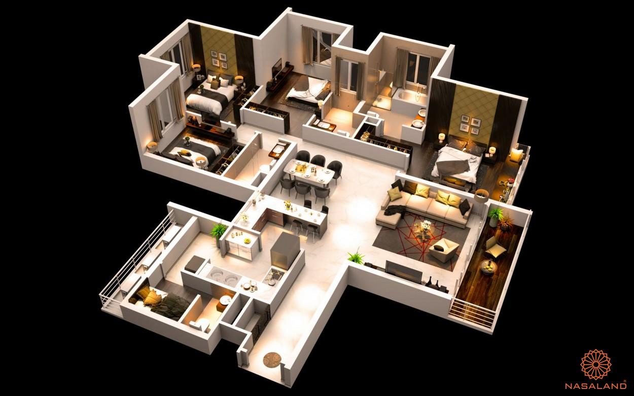 Mặt bằng dự án căn hộ The Canary Heights Bình Dương - 4 phòng ngủ