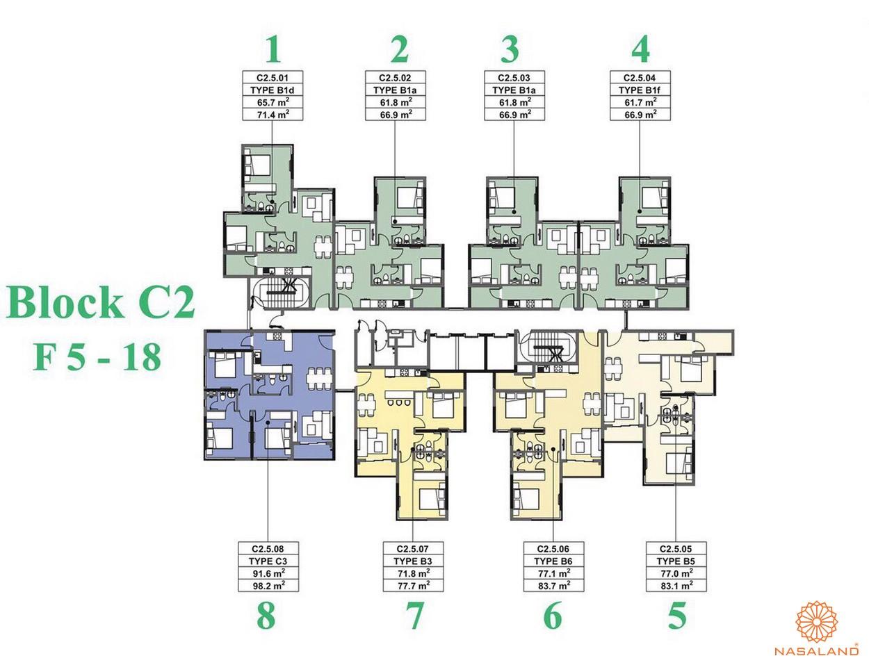 Mặt bằng dự án căn hộ The Habitat Bình Dương - Block C2