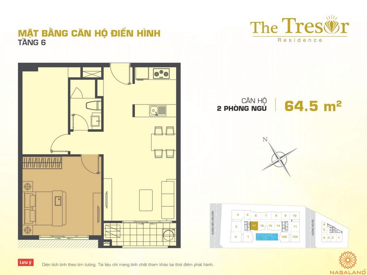 The Tresor quận 4 căn hộ điển hình 2PN tầng 6