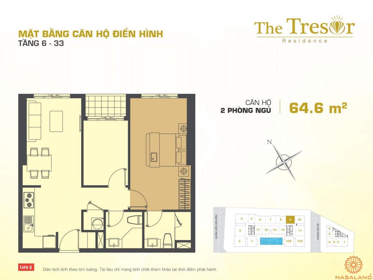 The Tresor quận 4 căn hộ điển hình 2PN