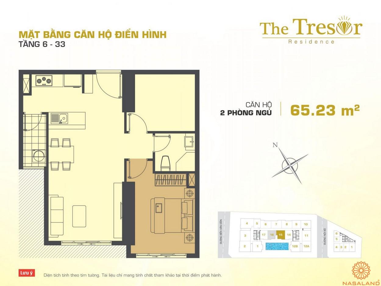 The Tresor quận 4 căn hộ điển hình 2PN Novaland