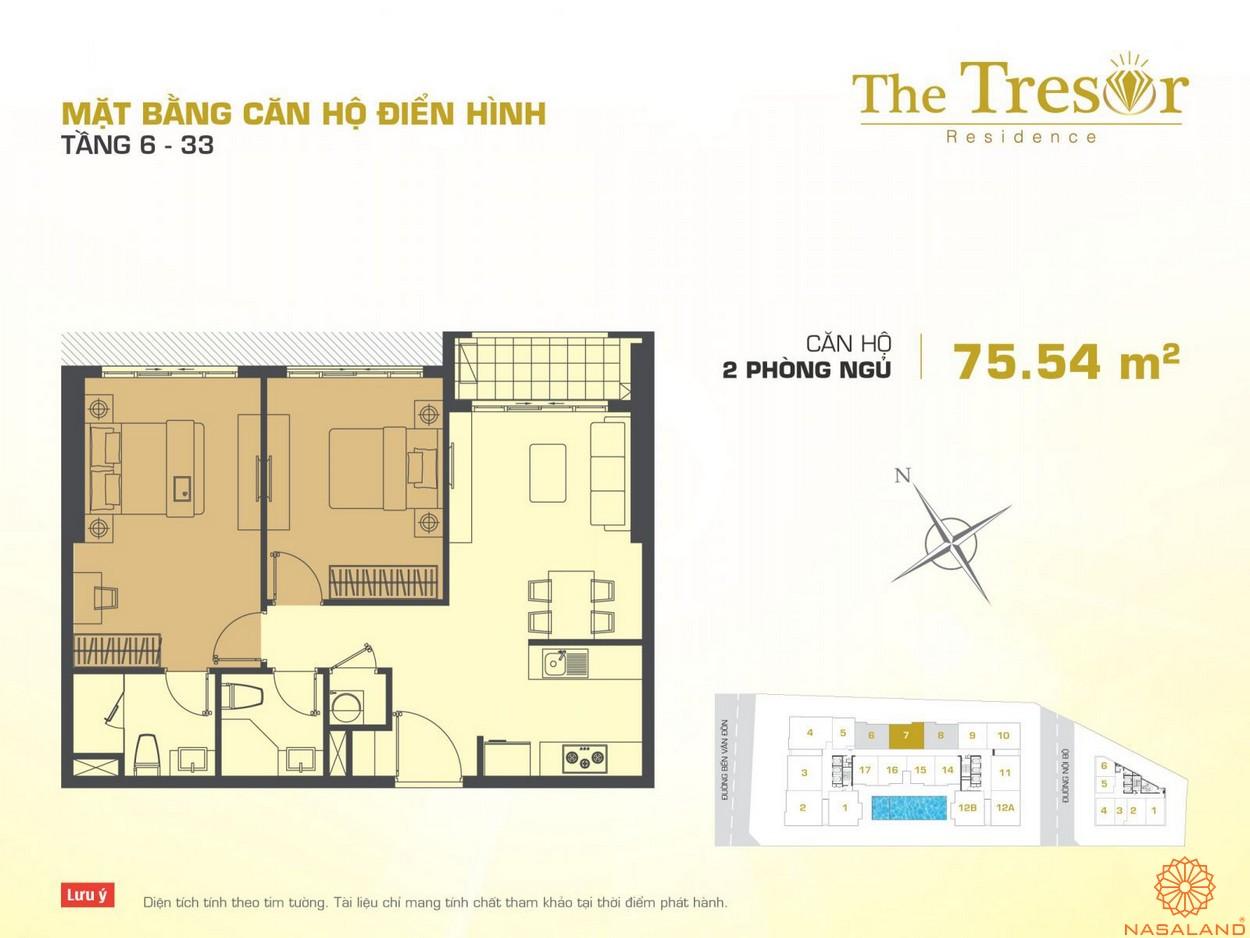 The Tresor quận 4 căn hộ điển hình 2PN 11
