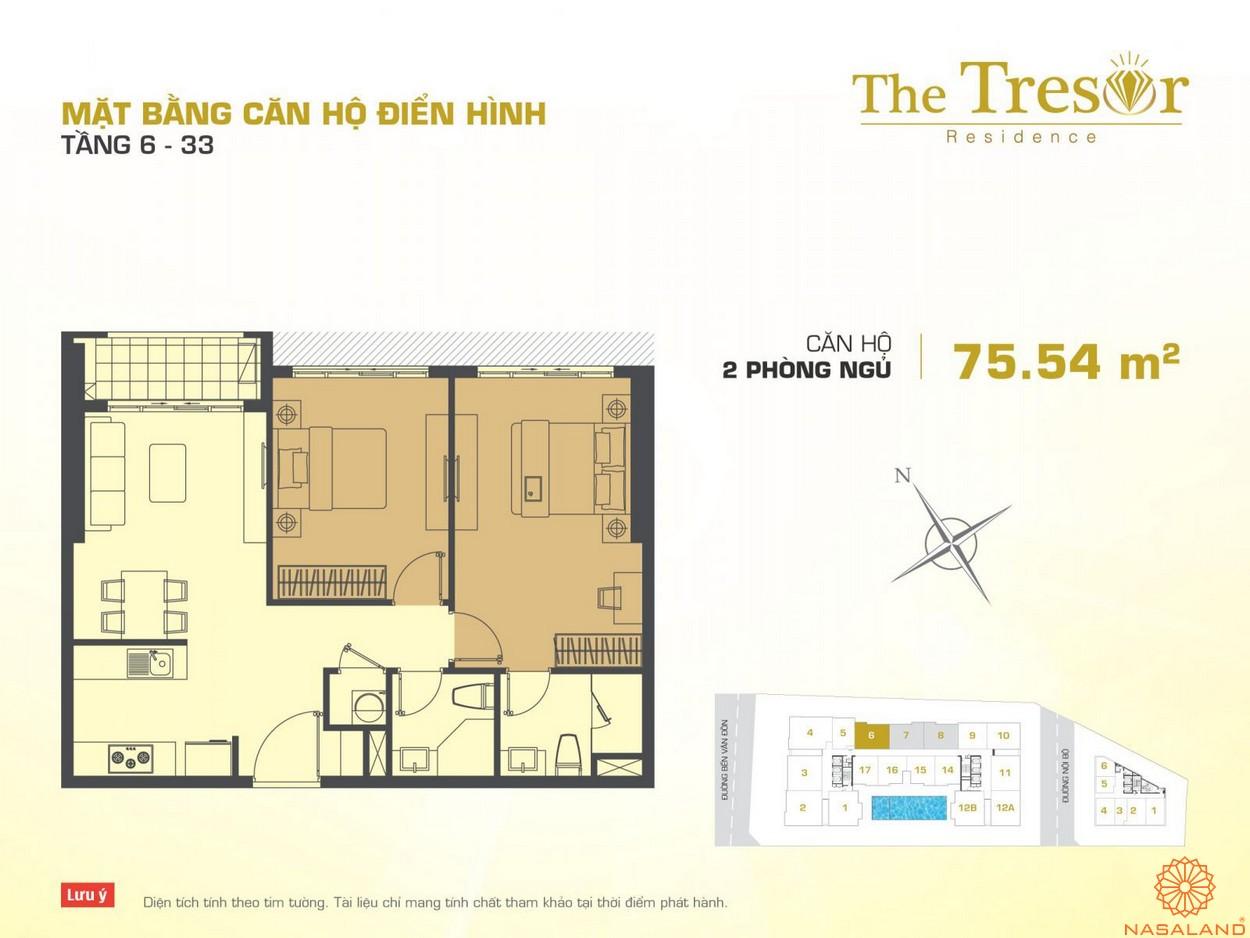 The Tresor Novaland căn hộ điển hình 2PN tầng 6-33 2