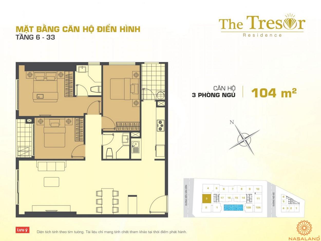 The Tresor Novaland căn hộ điển hình 3PN tầng 6-33 2