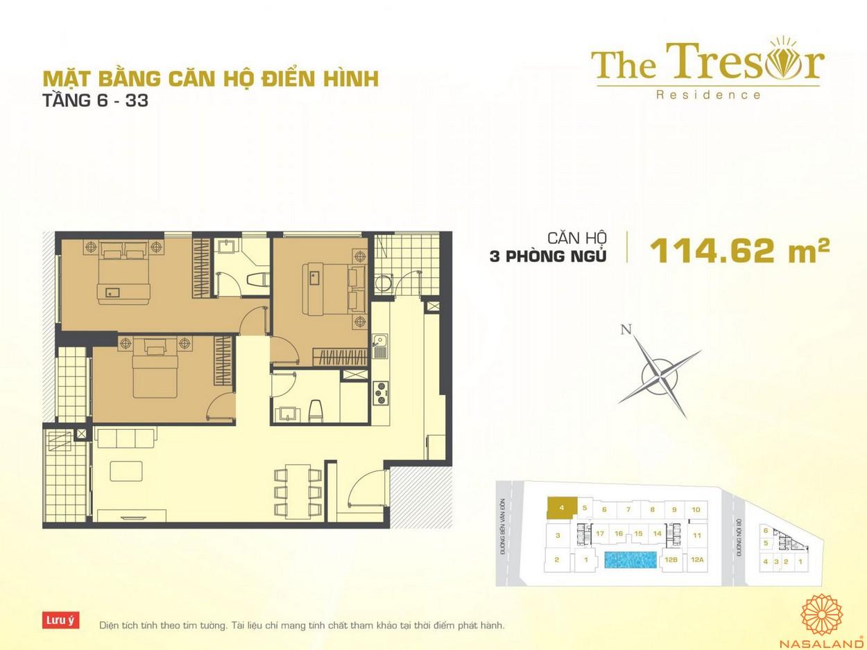 The Tresor Novaland căn hộ điển hình 3PN tầng 6-33