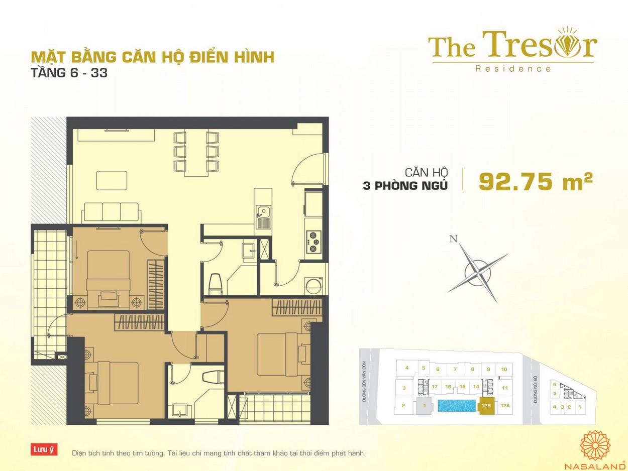 The Tresor quận 4 căn hộ điển hình 3PN