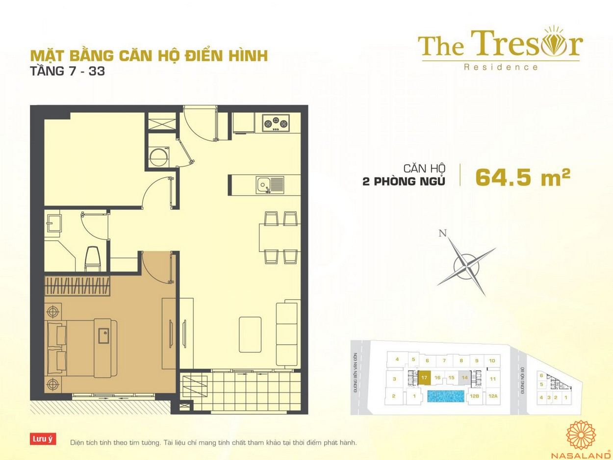 The Tresor Novaland căn hộ điển hình 2PN tầng 7-33