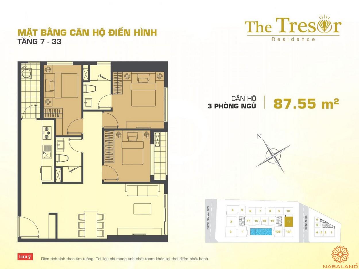 The Tresor Novaland căn hộ điển hình 3PN tầng 7-33