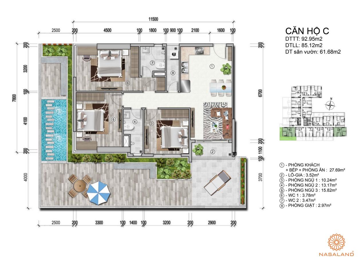 Mặt bằng dự án căn hộ Venus Luxury - căn hộ C