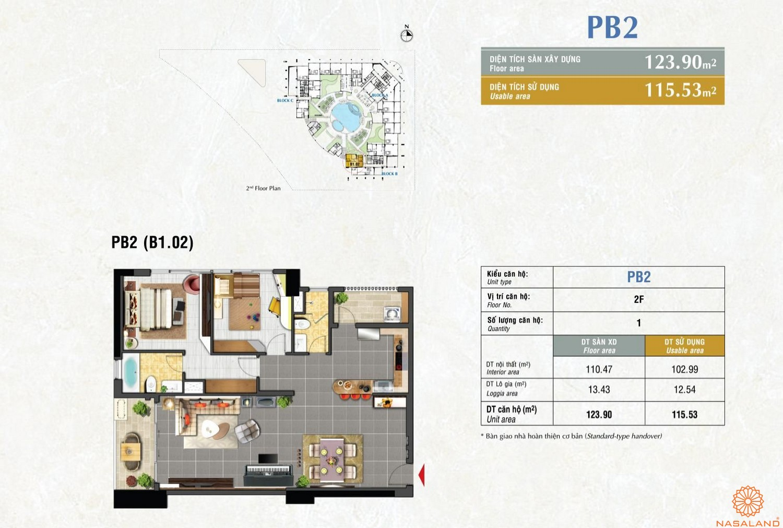 Mặt bằng căn PB2 dự án căn hộ Riverpark Premier quận 7