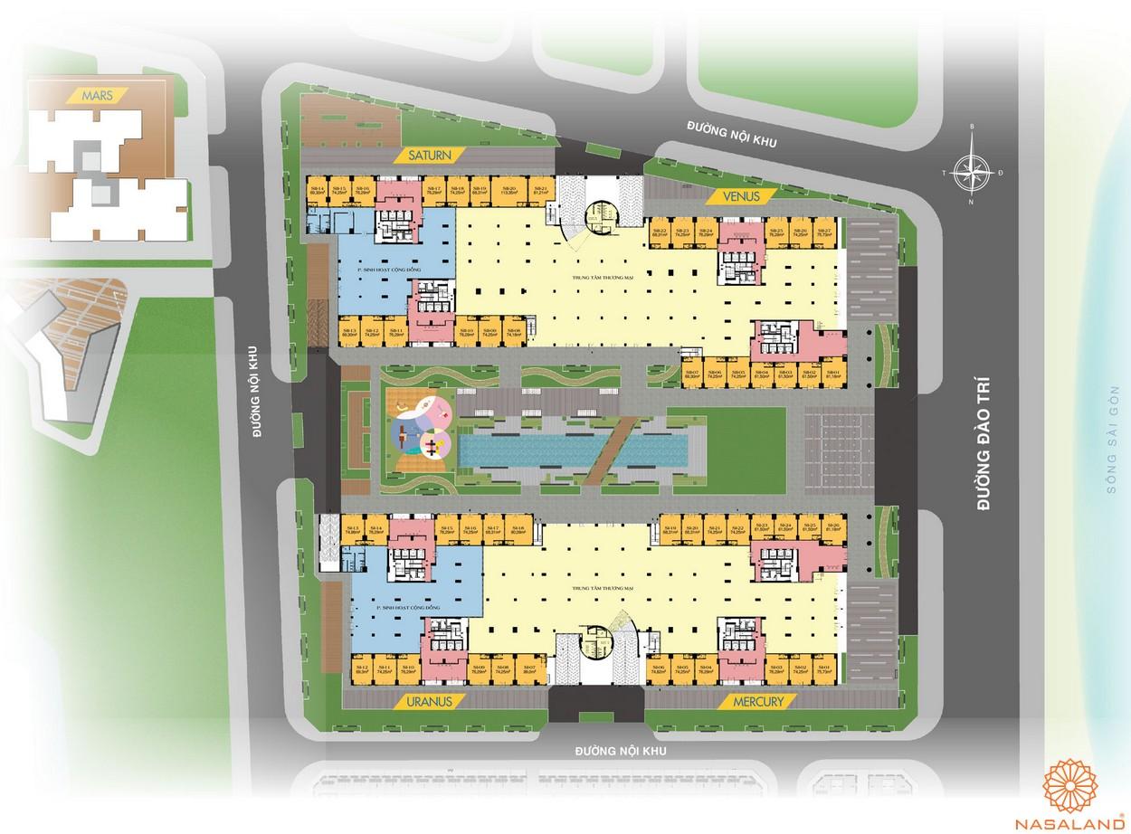 Mặt bằng tầng thương mại dự án căn hộ Q7 Saigon Riverside Complex quận 7