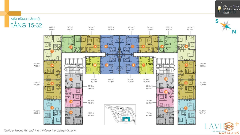 Mặt bằng tầng 15-32 căn hộ Lavida Plus quận 7
