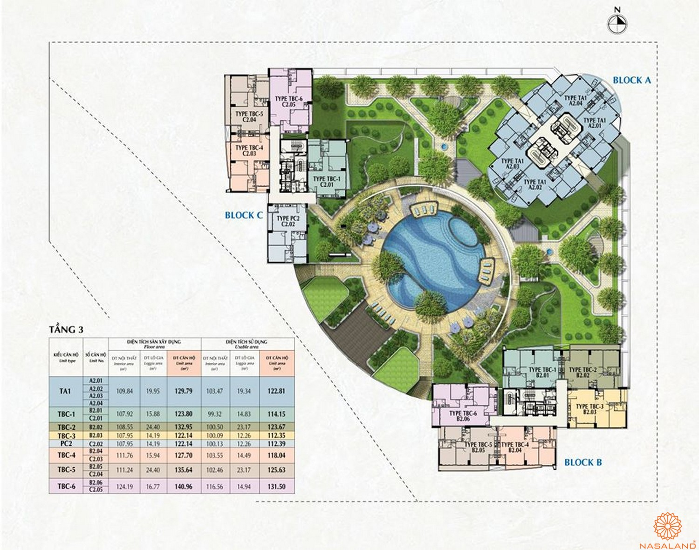 Mặt bằng tầng 3 dự án căn hộ Riverpark Premier quận 7