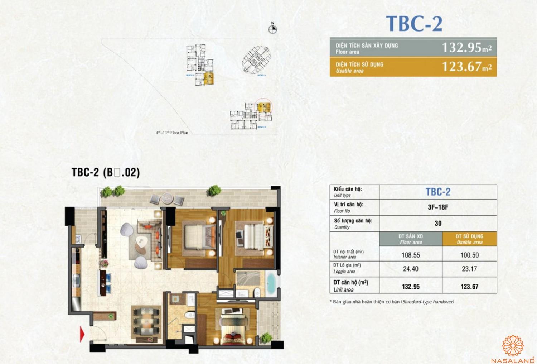 Mặt bằng căn TBC2 dự án căn hộ Riverpark Premier quận 7