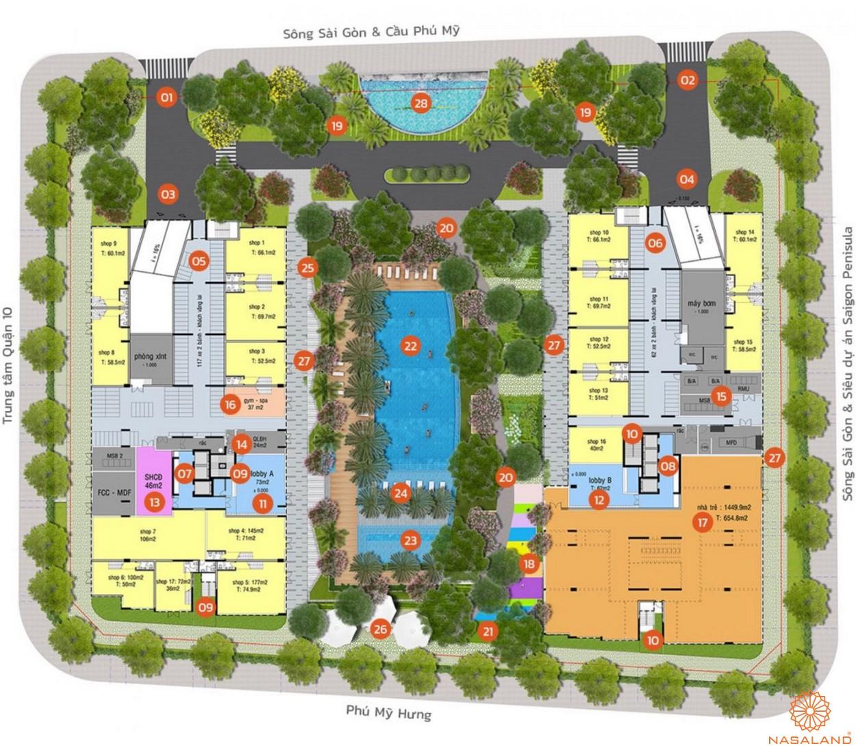 Mặt bằng tiện ích dự án căn hộ Lux Star quận 7