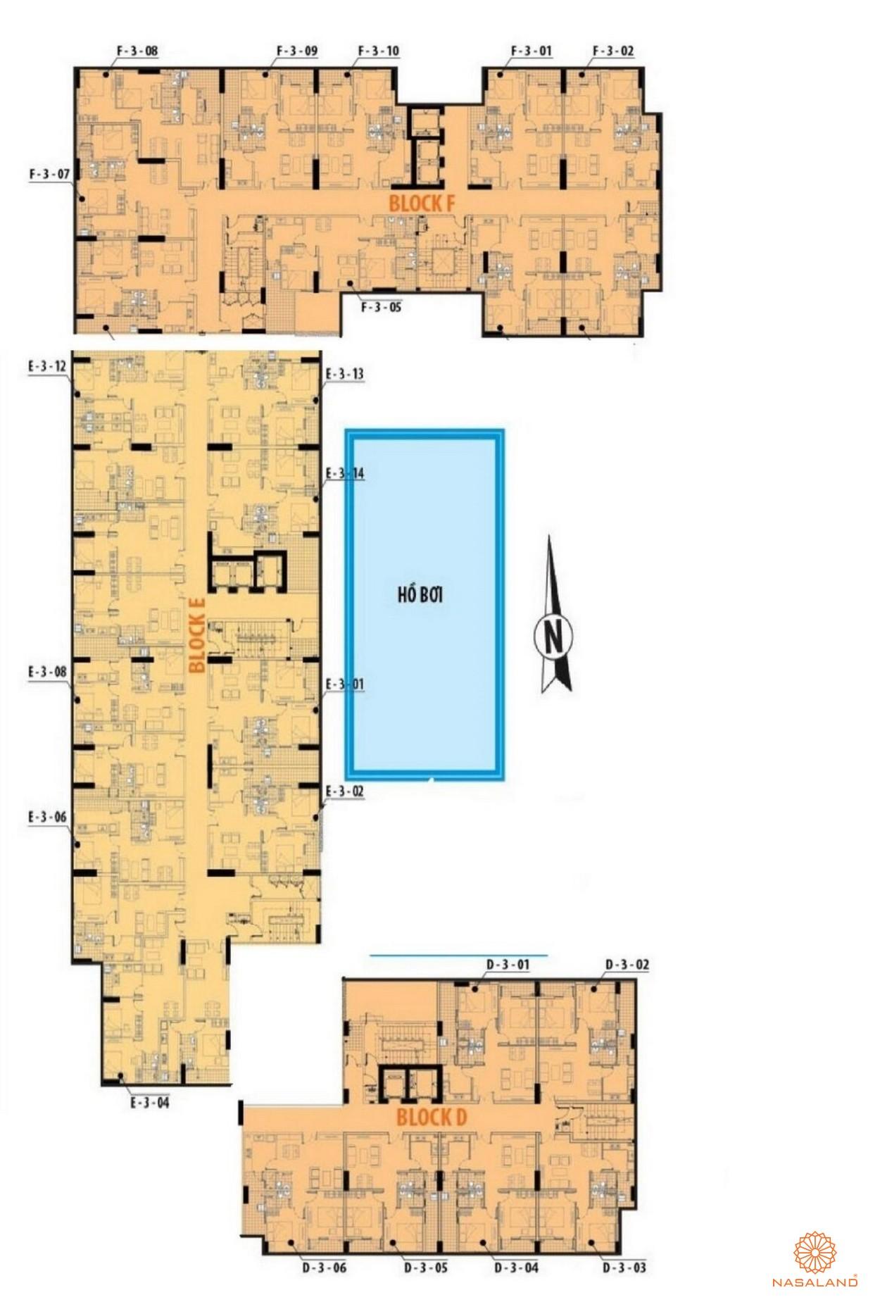 Mặt bằng tổng thể block F, E, D của dự án căn hộ Him Lam Riverside