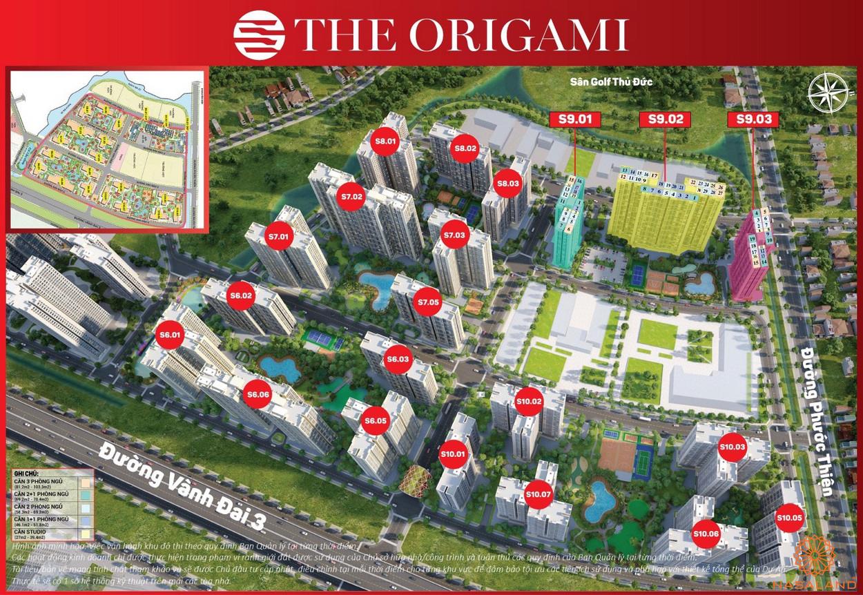 Mỏ bán cụm S8 The Origami trong mặt bằng tổng thể phân khu