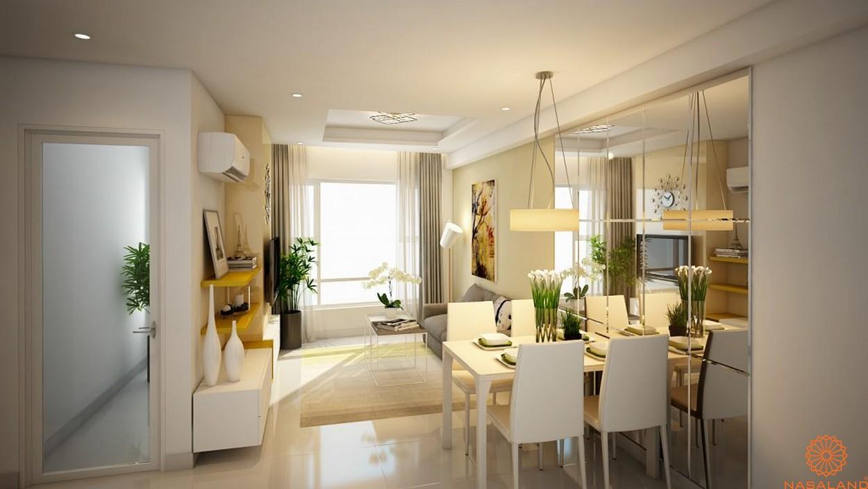 Nhà mẫu Summer Square quận 6 - Gian bếp và phòng khách