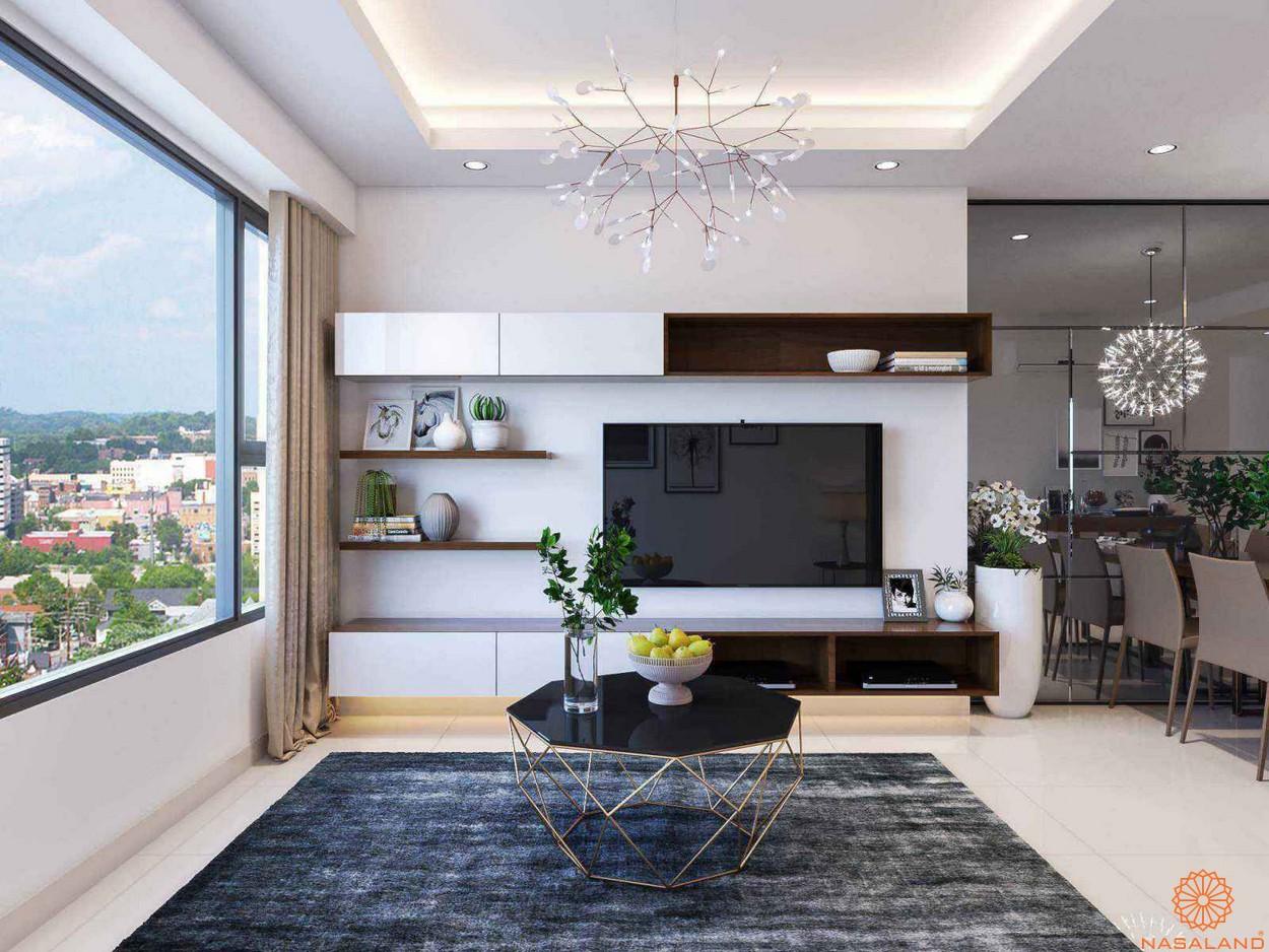 Phòng khách trong nhà mẫu căn hộ The Tresor quận 4