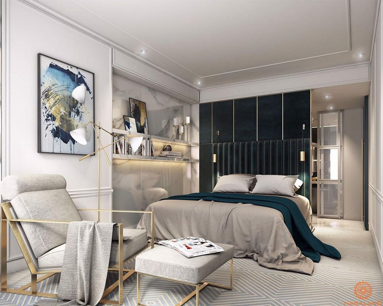 Phòng ngủ trong nhà mẫu căn hộ The Tresor quận 4