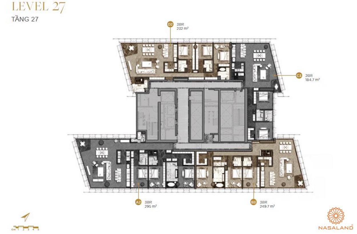Mặt bằng căn hộ The Vertex Private Residences tầng 27