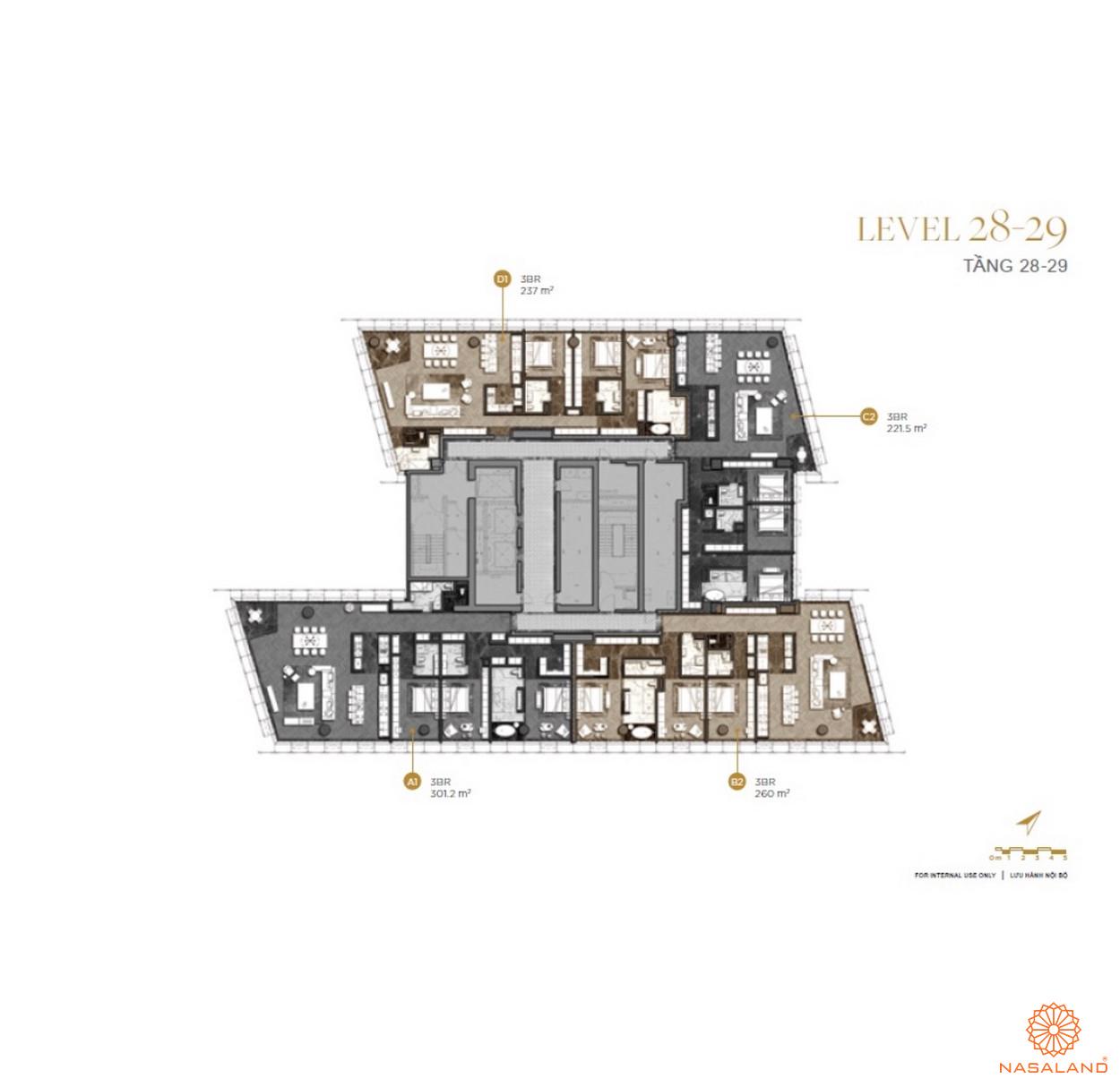 Mặt bằng căn hộ The Vertex Private Residences tầng 28-29