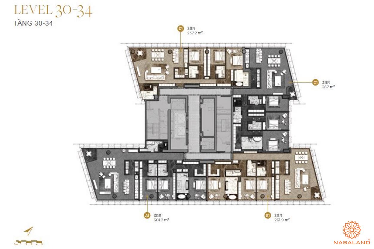 Mặt bằng căn hộ The Vertex Private Residences tầng 30-34