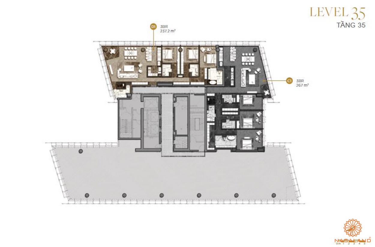 Mặt bằng căn hộ The Vertex Private Residences tầng 35